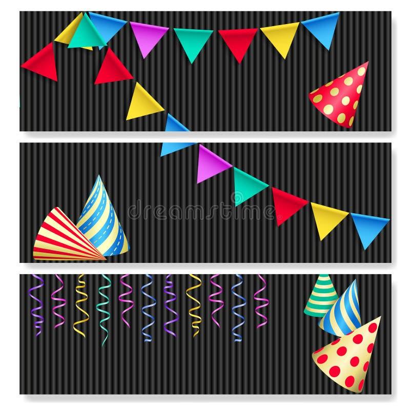 Ajuste das bandeiras festivas horizontais Chapéus da festa de anos, bandeiras da estamenha e flâmulas ilustração do vetor