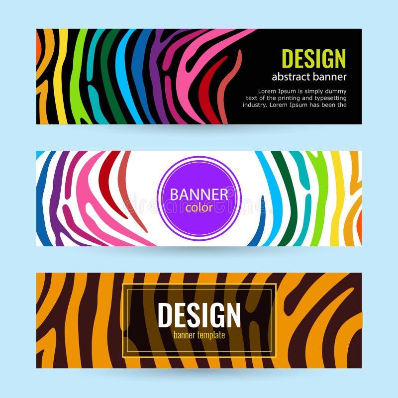Ajuste das bandeiras horizontais da cor com o arco-íris das listras no fundo preto e branco ilustração do vetor