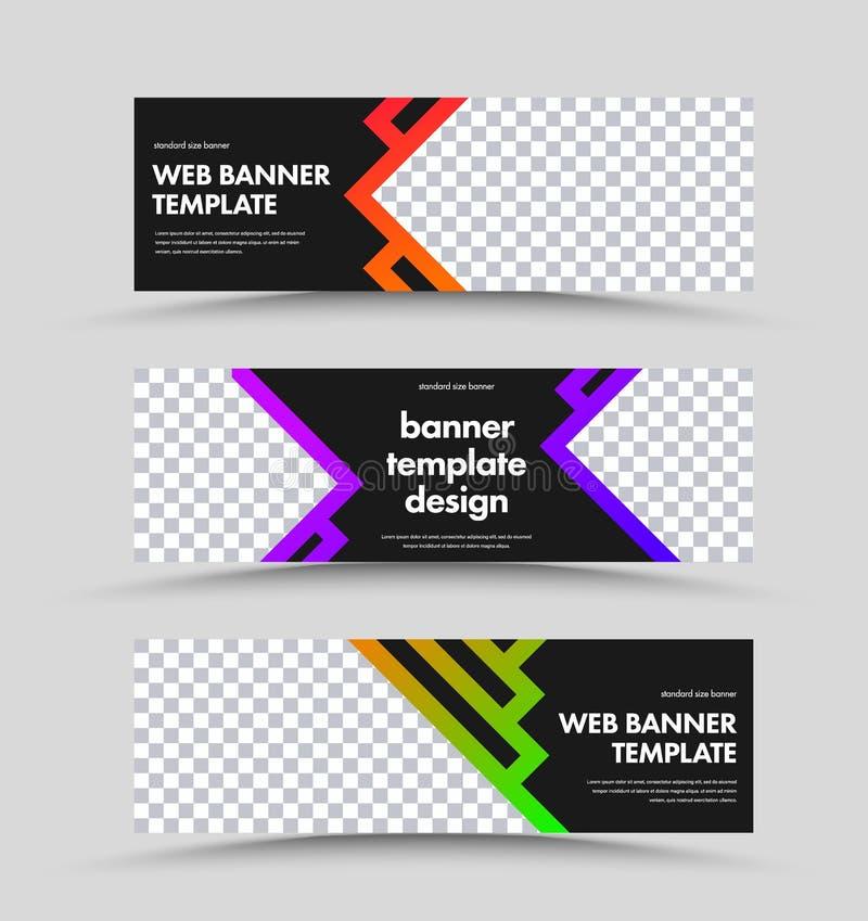 Ajuste das bandeiras pretas horizontais da Web com lugar para a foto e o curso com inclinação da cor ilustração stock