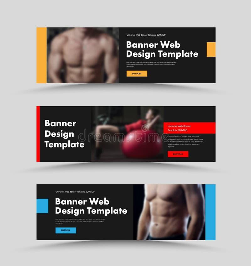 Ajuste das bandeiras pretas horizontais da Web do vetor com lugar para elementos e botões do projeto da foto e da cor ilustração stock
