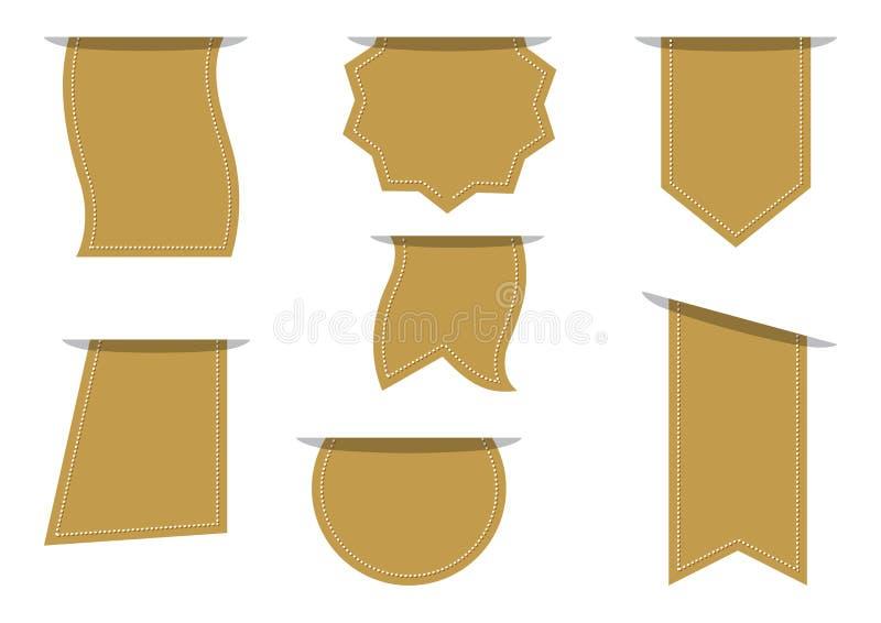 Ajuste das bandeiras vazias douradas para seu texto Ilustração do vetor ilustração stock