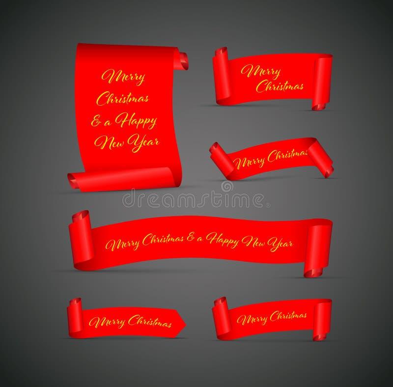 Ajuste das bandeiras vermelhas do Feliz Natal ilustração stock
