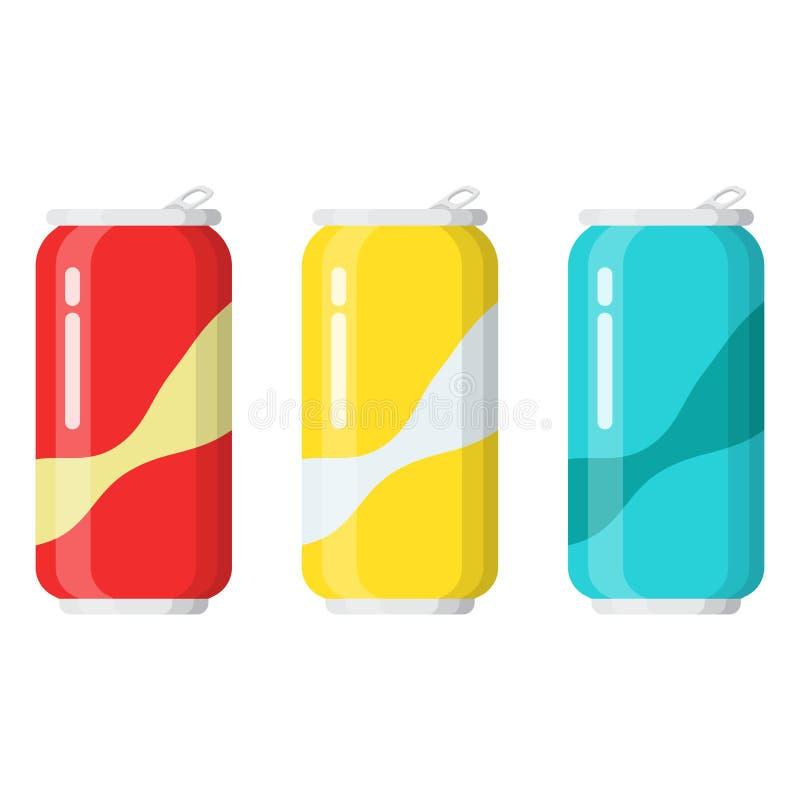 Ajuste das bebidas nas latas de alumínio ilustração royalty free
