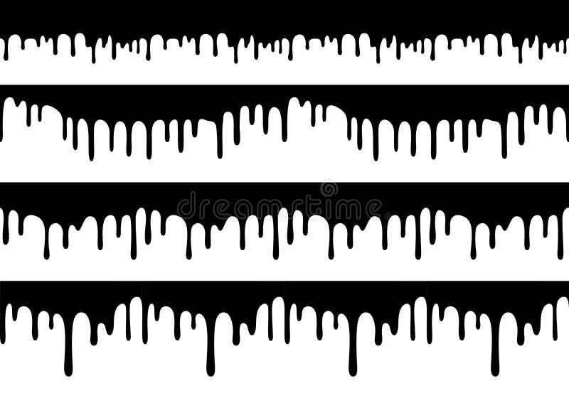 Ajuste das beiras sem emenda do gotejamento do vetor Formas isoladas da gota Textura líquida da pintura ilustração stock
