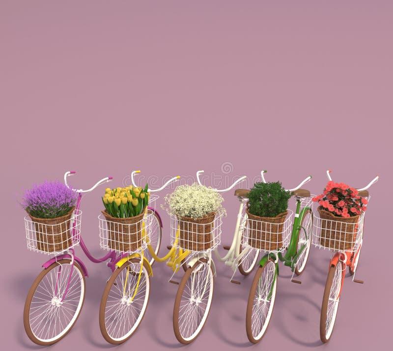 Ajuste das bicicletas retros velhas com as flores coloridos nas cestas estão em seguido em um fundo roxo Copie o espaço 3d rendem ilustração stock