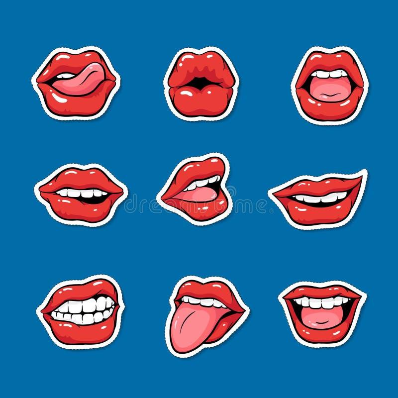 Ajuste das bocas fêmeas com estilo vermelho do pop art dos desenhos animados do batom ilustração do vetor