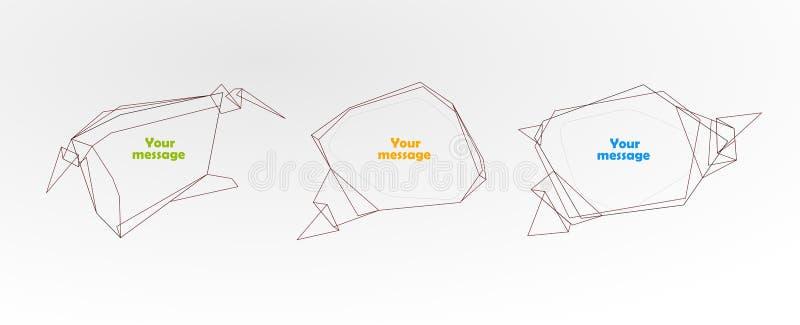 Ajuste das bolhas poligonais do discurso ilustração do vetor