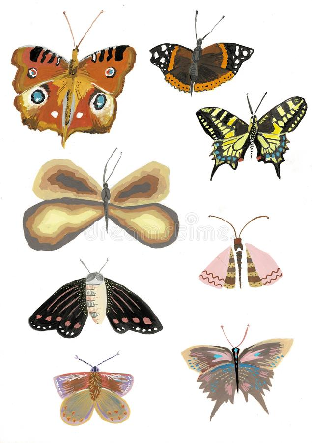 Ajuste das borboletas coloridas real?sticas, ilustra??o da aquarela da borboleta ilustração stock