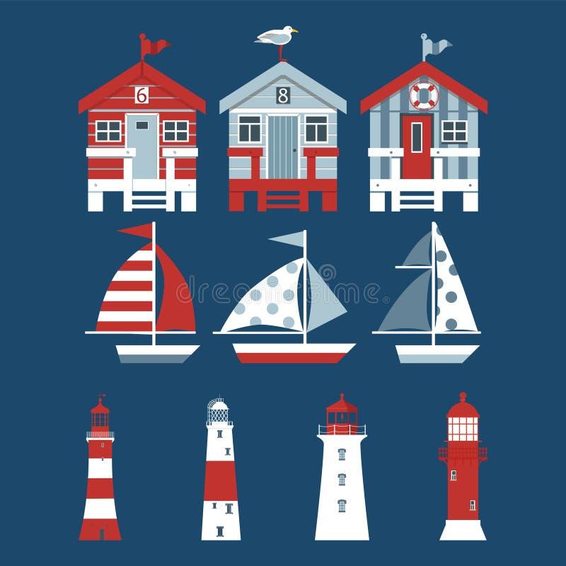Ajuste das cabanas da praia, barcos de vela, faróis no fundo azul ilustração do vetor