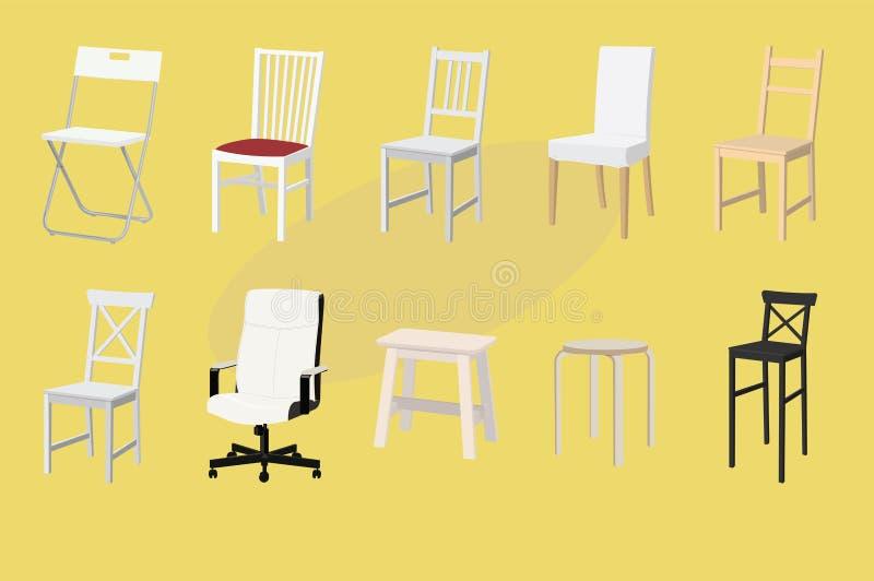 Ajuste das cadeiras e dos tamboretes de projetos e de cores diferentes Projeto da mob?lia Ilustra??o do vetor ilustração stock