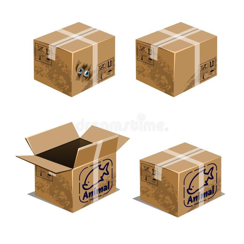 Ajuste das caixas da caixa para transportar os animais isolados no fundo branco Ilustração do close-up dos desenhos animados do v ilustração do vetor