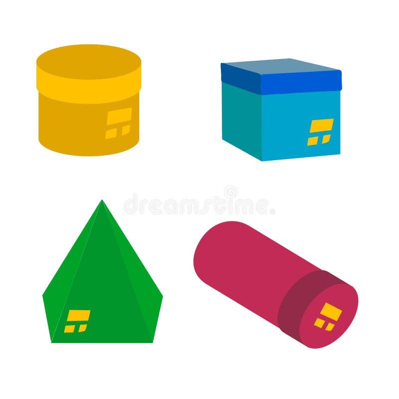 ajuste das caixas de presente brilhantes com curvas de formas geométricas ilustração stock
