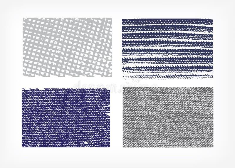 Ajuste das calças de brim de pano das texturas do vetor isoladas quatro ilustração stock