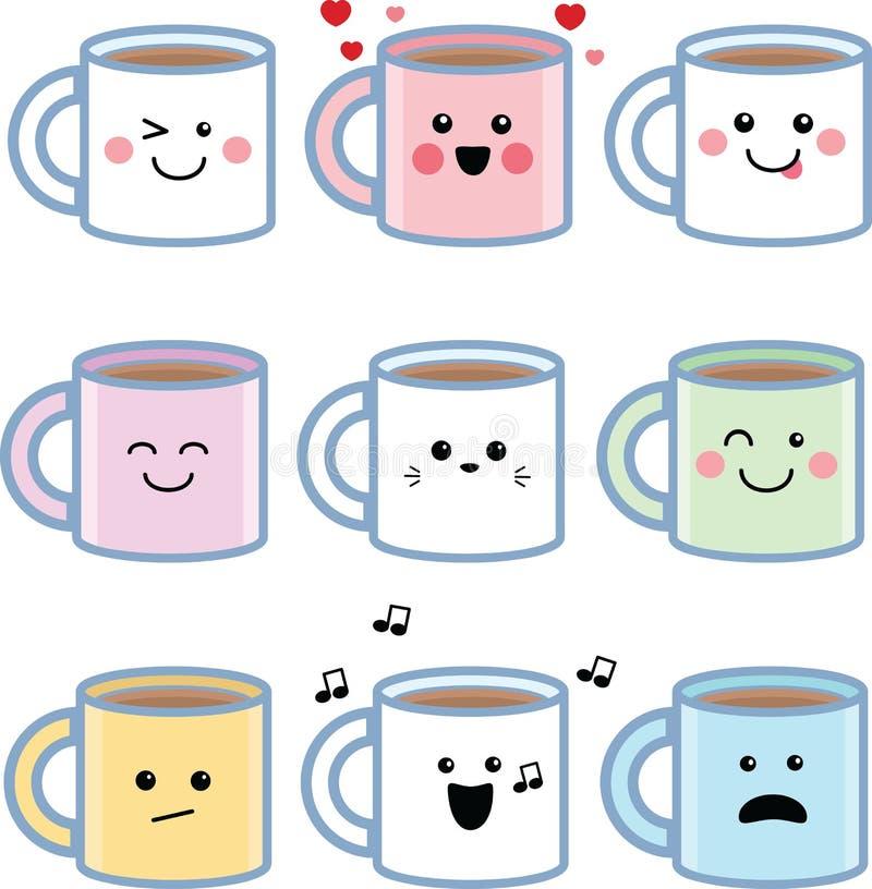 Ajuste das canecas de café de Kawaii ilustração do vetor