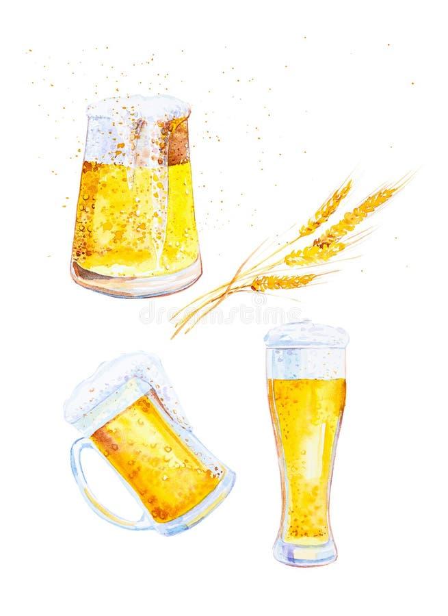 Ajuste das canecas enchidas com a cerveja com espuma e as orelhas do trigo com migalhas Ilustra??o da aquarela isolada no fundo b ilustração royalty free