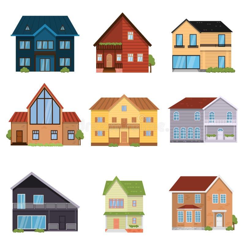 Ajuste das casas projetadas de configurações diferentes, de assoalhos e de formulários ilustração do vetor