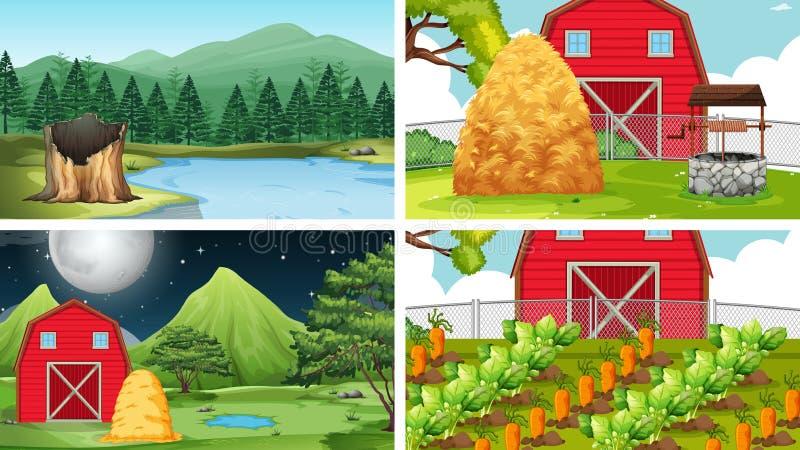 Ajuste das cenas no ajuste da natureza ilustração stock