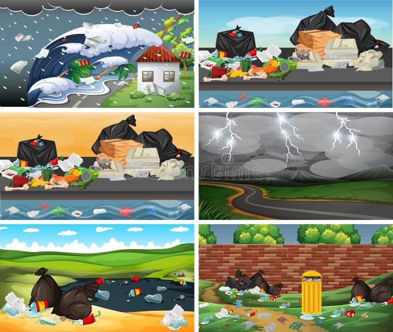 Ajuste das cenas poluídas ilustração do vetor