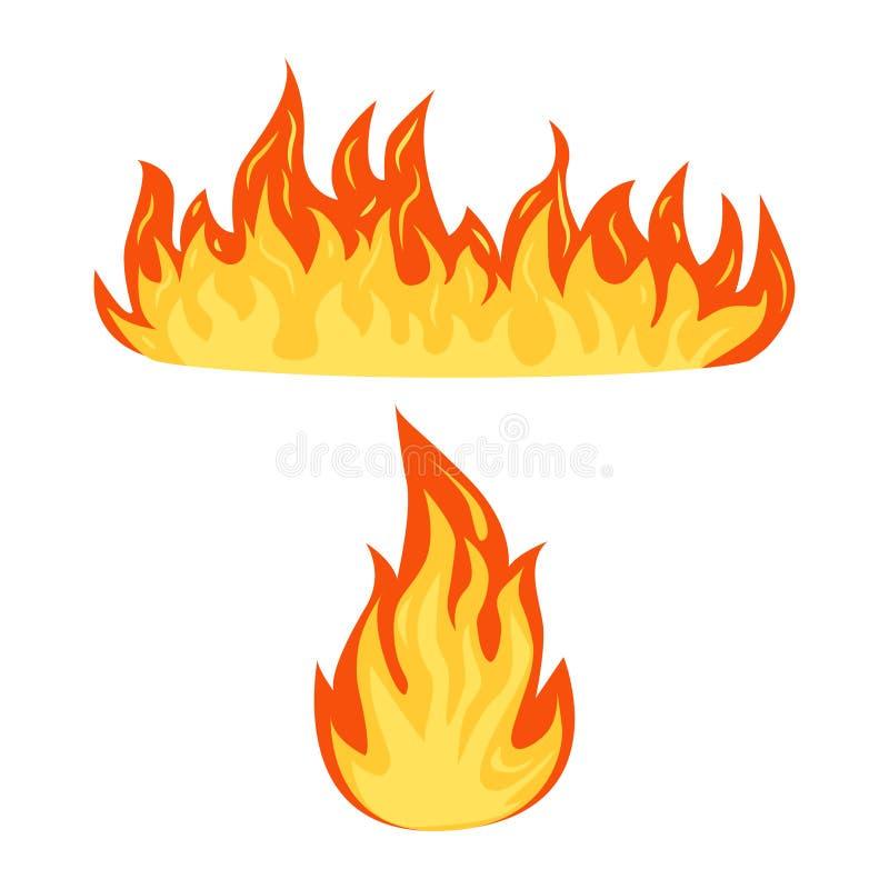 Ajuste das chamas de um fogo isoladas em um fundo branco, energia quente da chama dos desenhos animados, símbolos flamejantes, il ilustração do vetor