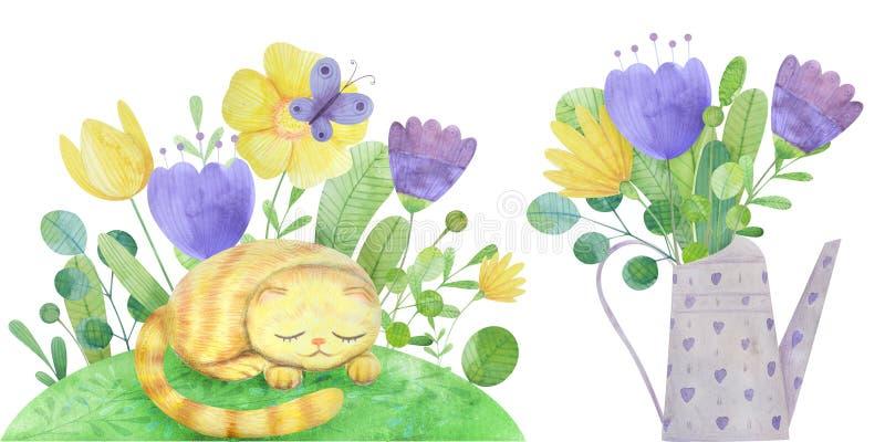 ajuste das composições desenhados à mão com um gato e umas flores estilizados em uma lata molhando ilustração stock