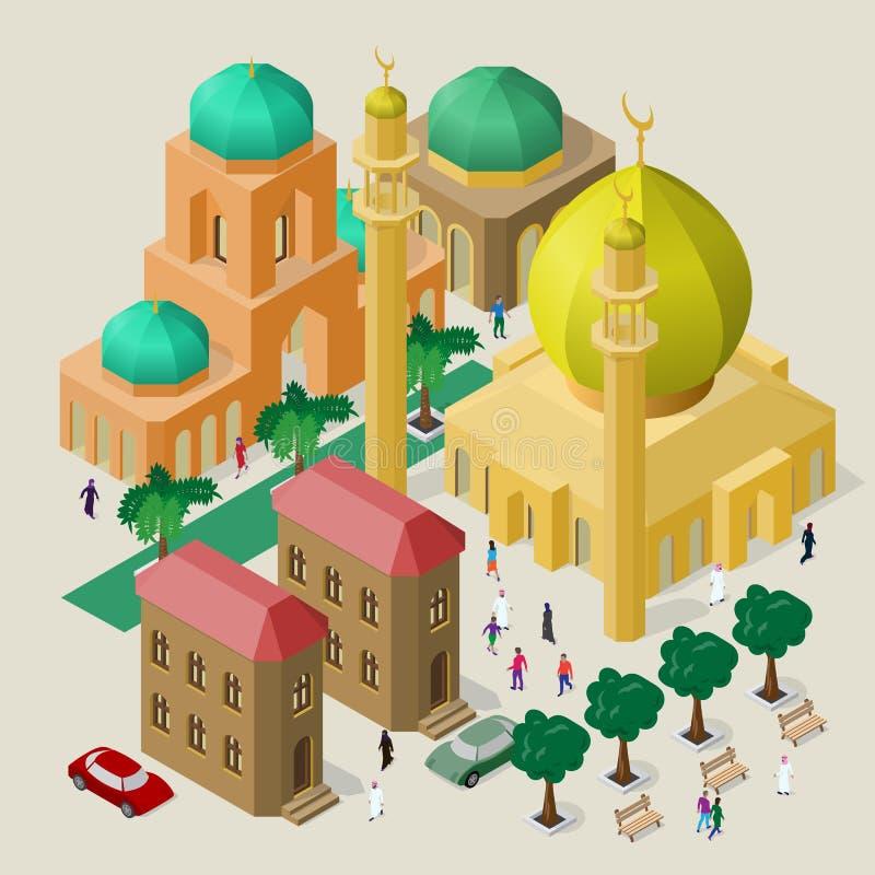 Ajuste das construções, da mesquita, dos minaretes, dos bancos, das árvores, dos carros e dos povos isométricos Arquitetura d ilustração stock