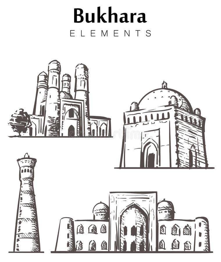 Ajuste das construções desenhados à mão de Bukhara, ilustração do esboço dos elementos de Bukhara ilustração royalty free