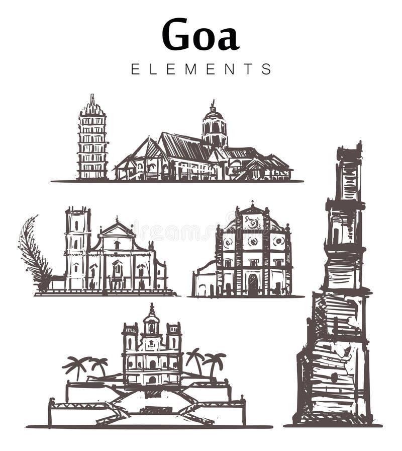 Ajuste das construções desenhados à mão de Goa Índia, ilustração do esboço dos elementos de Goa ilustração do vetor