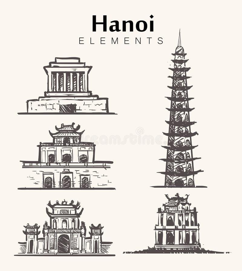 Ajuste das construções desenhados à mão de Hanoi Ilustração do esboço de Hanoi ilustração royalty free