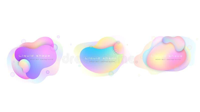 Ajuste das cores pastel líquidas dos elementos Formas coloridas fluidas ilustração stock