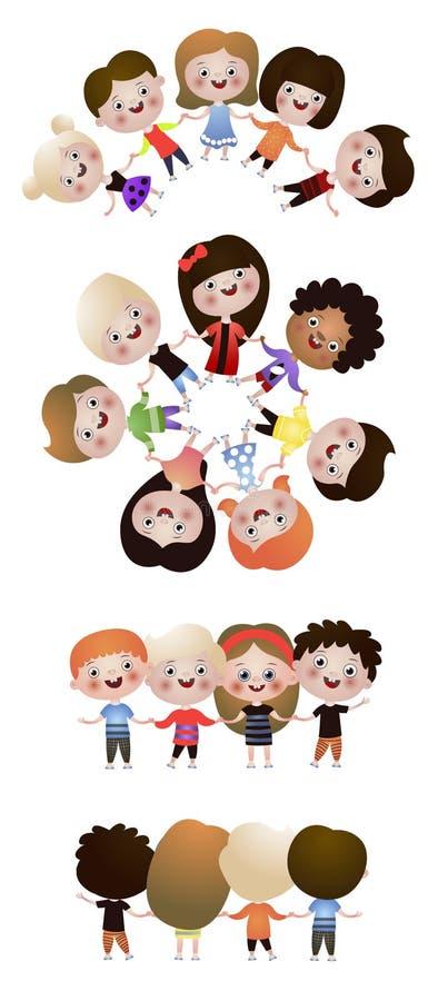 Ajuste das crianças felizes bonitos, melhores amigos na dança redonda ilustração do vetor