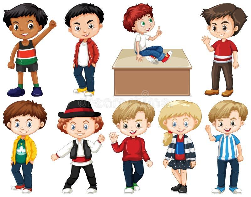 Ajuste das crianças felizes que fazem ações diferentes ilustração stock
