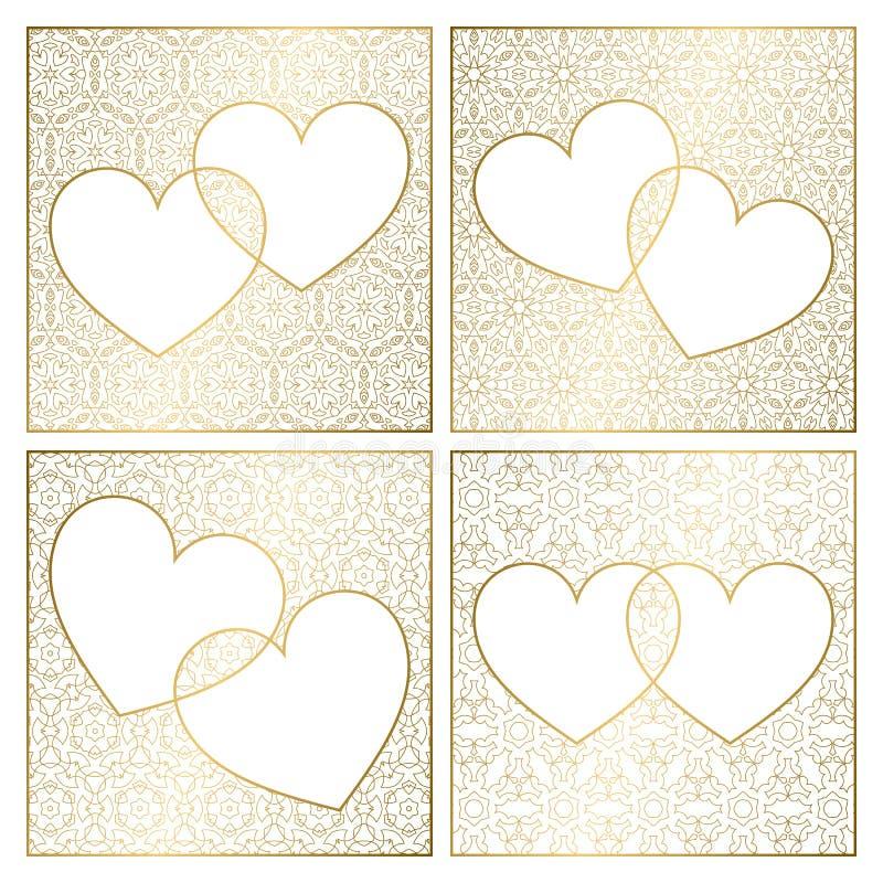 Ajuste das decorações modeladas do fundo Moldes de tampa dourados para cart?es Quadros dos corações para o dia de Valentim ilustração stock