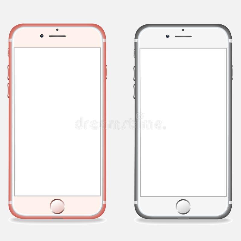 Ajuste das disposições realísticas dos smartphones ilustração royalty free
