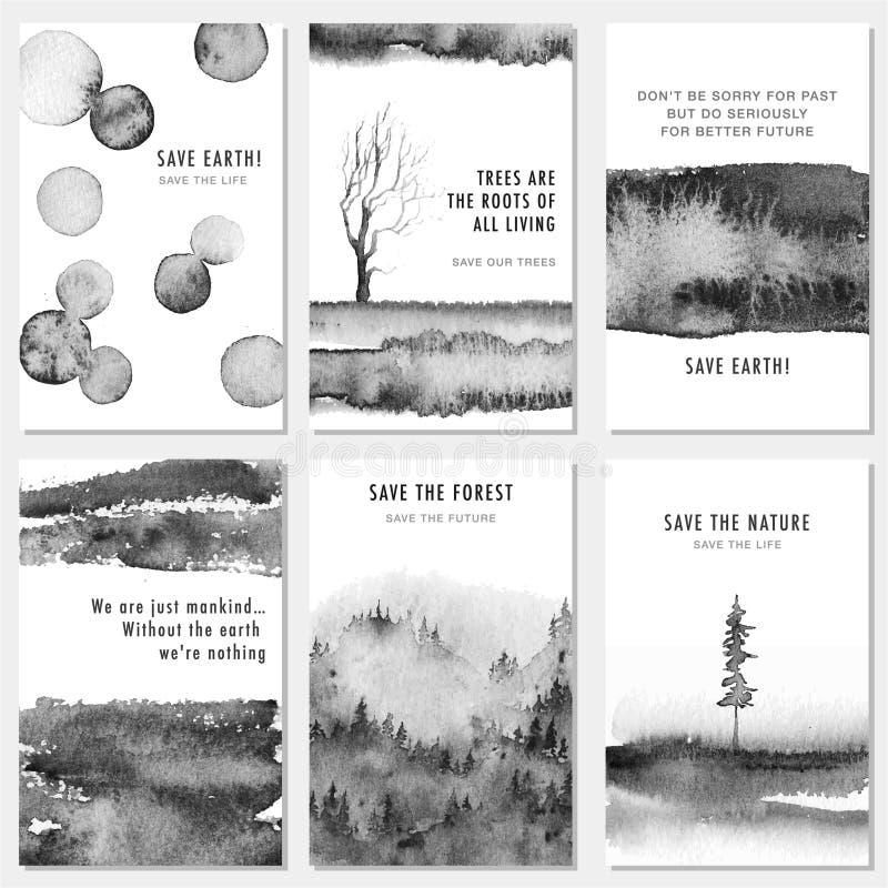 Ajuste das economias criativas artísticas os cartões da natureza com texturas tiradas mão, monocromático ilustração stock