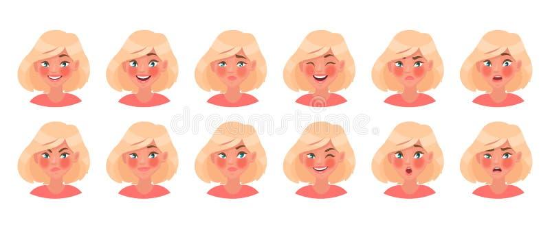 Ajuste das emoções diferentes de um caráter fêmea Emoji bonito da menina com uma variedade de expressões faciais ilustração royalty free
