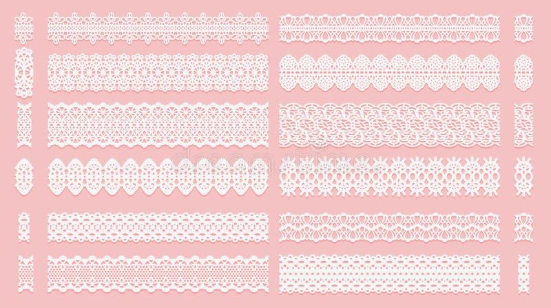 Ajuste das escovas do teste padrão do laço Fitas do Tracery isoladas em um fundo cor-de-rosa Elementos para convites scrapbooking ilustração stock