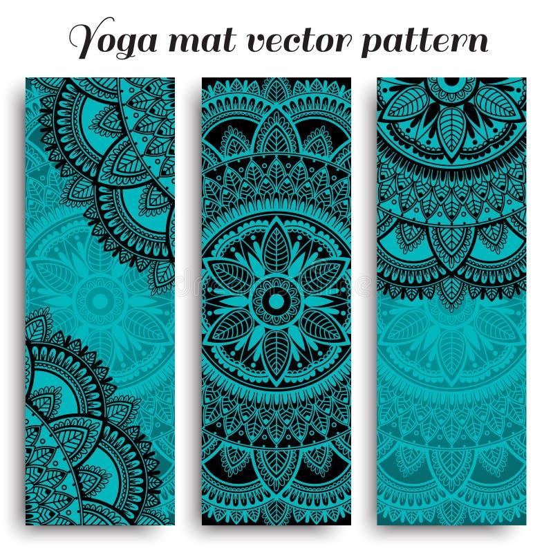 Ajuste das esteiras da ioga com projetos étnicos Teste padrão de turquesa, azul e preto do vetor com mandala foto de stock royalty free