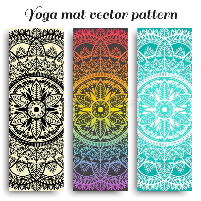 Ajuste das esteiras da ioga com projetos étnicos Turquesa, inclinação do arco-íris e teste padrão preto do vetor com mandala foto de stock royalty free