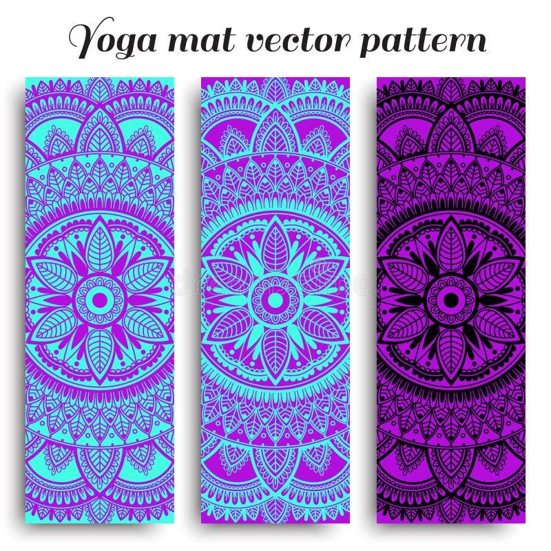 Ajuste das esteiras da ioga com projetos ?tnicos Teste padrão de turquesa, roxo e preto do vetor com mandala imagem de stock royalty free