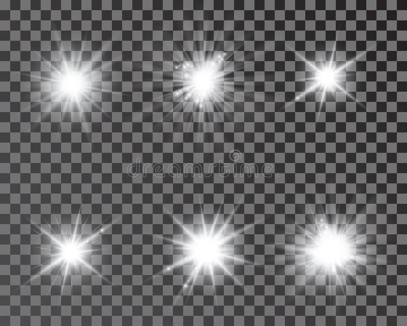 Ajuste das estrelas bonitas brilhantes E Efeito da luz, estrela brilhante, alargamento claro ilustração do vetor