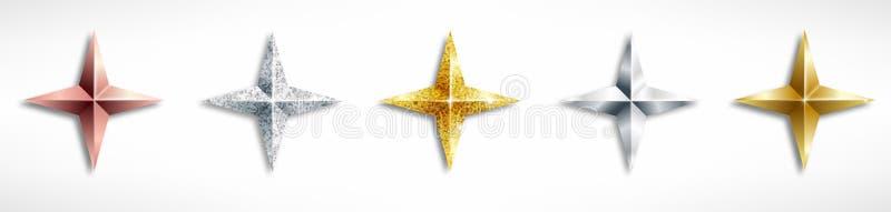 Ajuste das estrelas realísticas douradas ilustração stock