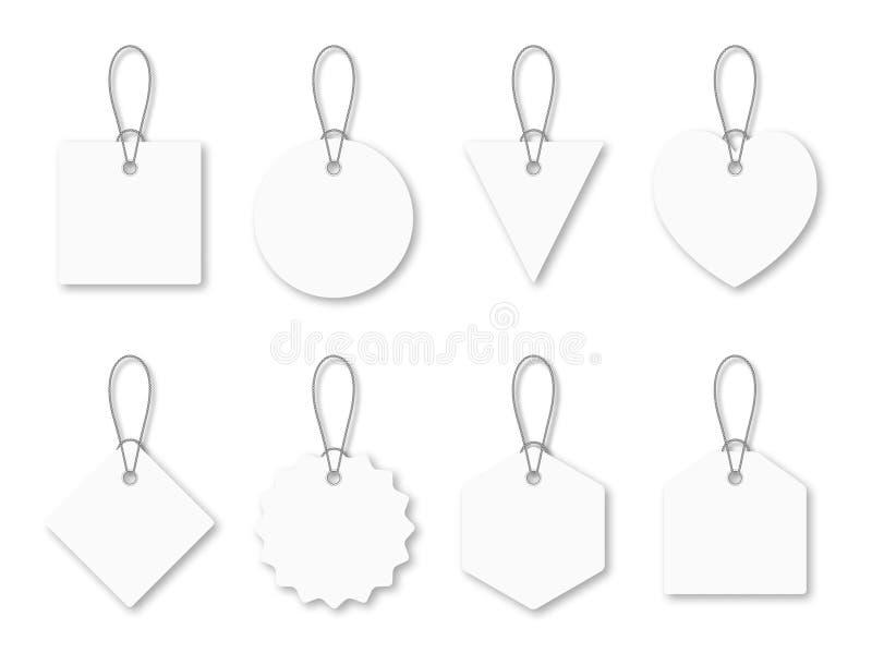Ajuste das etiquetas brancas vazias com corda Etiquetas e preços de compra brancos em formas diferentes ilustração do vetor