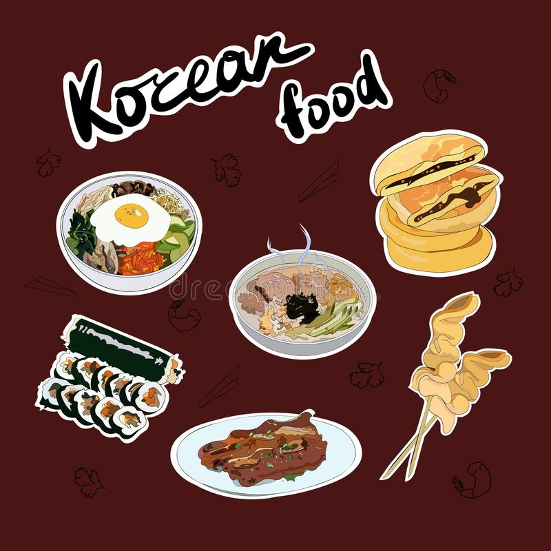 Ajuste das etiquetas coreanas tradicionais dos pratos O Bibimbap, guksu, gimbap, oden, galbi-GUI, hotteok ilustração stock