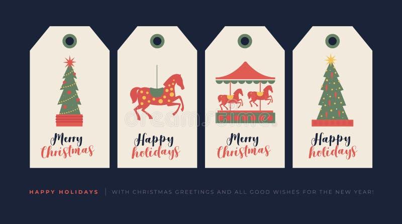 Ajuste das etiquetas criativas do presente com elementos do desenho para o feriado do Natal e do ano novo ilustração stock