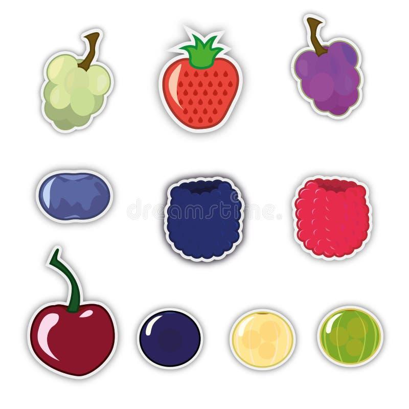 Ajuste das etiquetas da baga: uvas brancas e escuras; Morango; cereja; amora-preta; framboesas; Irga; Kryzhevnik; mirtilos Vetor ilustração royalty free