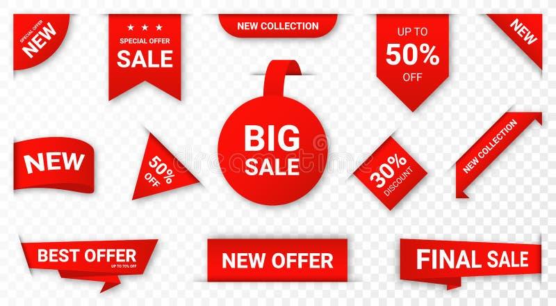 Ajuste das etiquetas, das etiquetas da venda e das etiquetas novas Etiquetas e crachás de compra para a mercadoria e a promoção ilustração do vetor