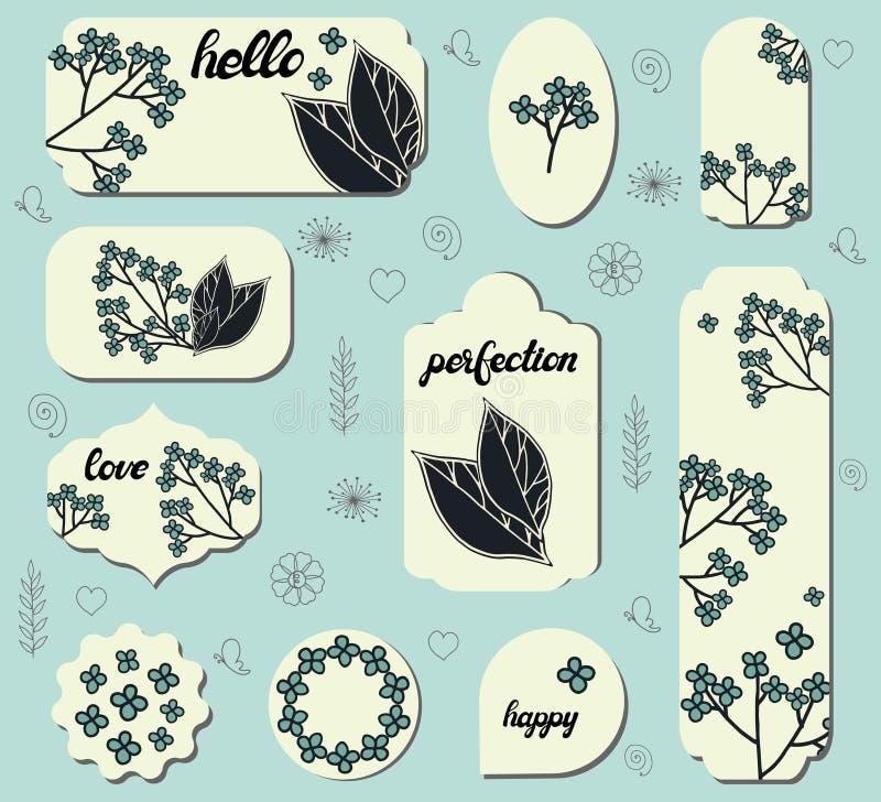 Ajuste das etiquetas diferentes com as flores bonitos da garatuja Coleção com etiquetas florais diferentes do papel para anúncios ilustração royalty free