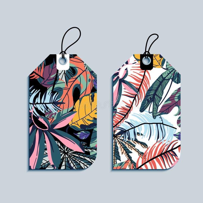 Ajuste das etiquetas do presente com folhas de palmeira tropicais ilustração royalty free