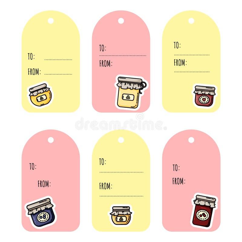 Ajuste das etiquetas do presente dos frascos do doce Cole??o de etiquetas coloridas lisas do estilo ilustração do vetor