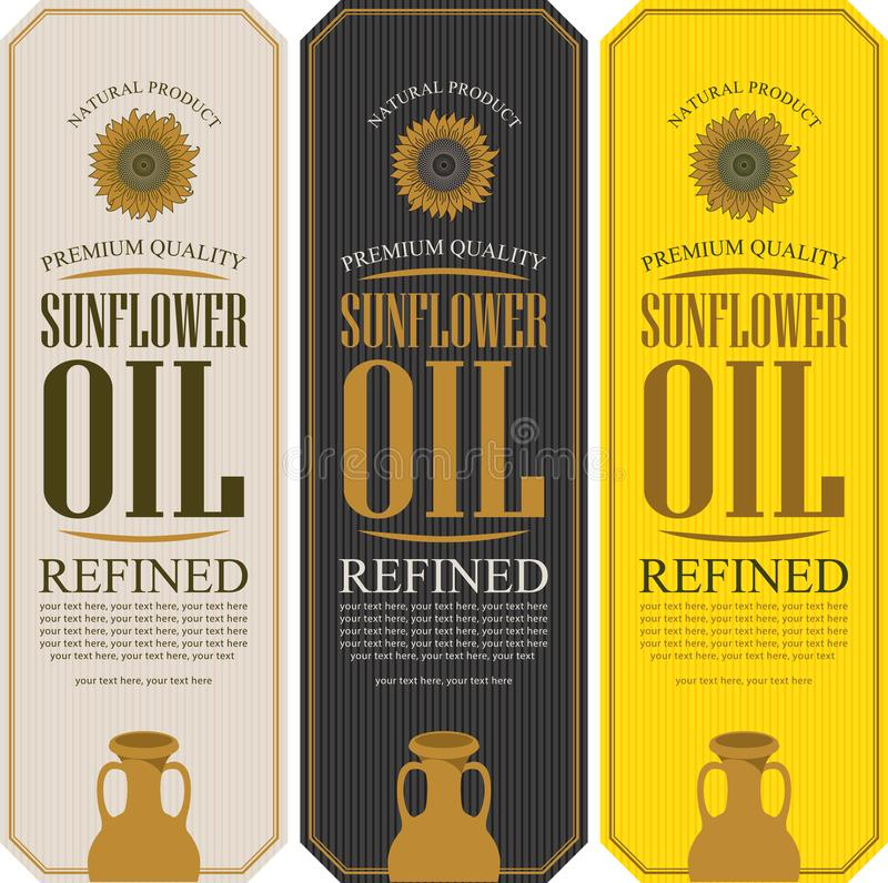 Ajuste das etiquetas do vetor para o óleo de girassol refinado ilustração do vetor